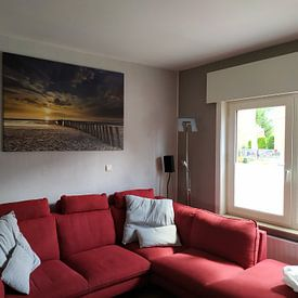 Klantfoto: Zonsondergang in Haamstede (3) van Koos de Wit, op canvas