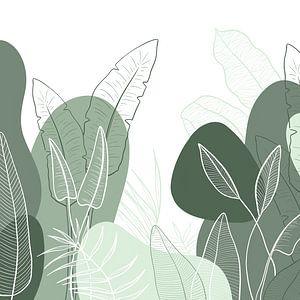 Modern tropisch patroon - illustratie bladeren groen van Studio Hinte