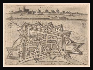 Plattegrond van Venlo (Limburg) anni ca 1653 met zwart kader. van Gert Hilbink