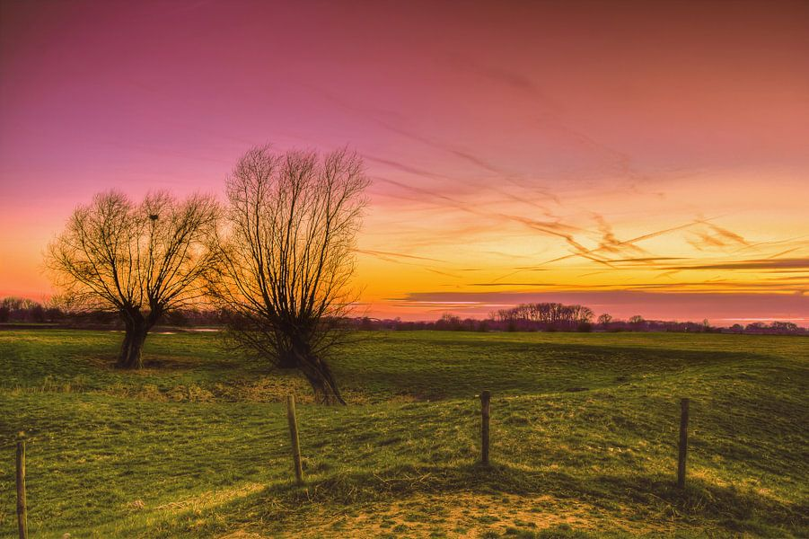 uiterwaarden bij zonsondergang