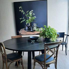 Klantfoto: Stilleven met Fluitenkruid en tin op hout [vierkant] (gezien bij vtwonen) van Affect Fotografie, op canvas