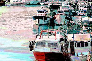 Fischkutter im Hafen bei Sonnenuntergang van
