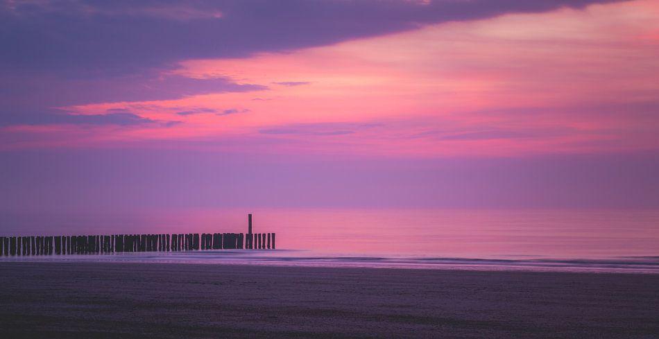 Zonsondergang strand Domburg van Daniël Steenbergen