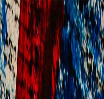 Muurschildering Rood Blauw Zwart Gestreepte Achtergrond van Klaus Heidecker
