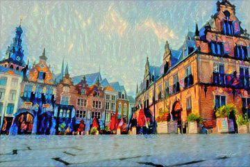Schilderij Nijmegen Waag gebouw en Grote Markt