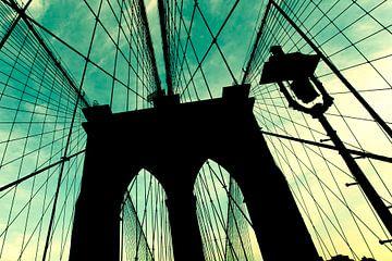 Silhouet van Brooklyn Bridge van Bert Nijholt