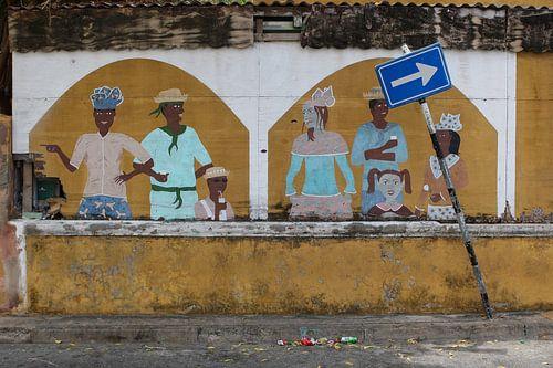 muurschildering in een straat in willemstad op curacao