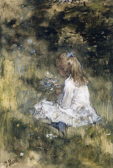 Een meisje met bloemen in het gras, Jacob Maris van Meesterlijcke Meesters