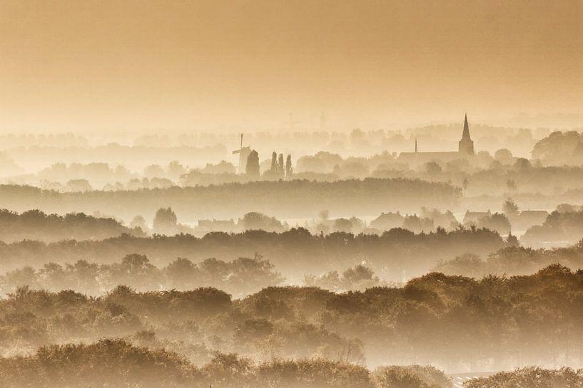 Vue sur les arbres et les maisons dans le brouillard du matin sur Frans Lemmens