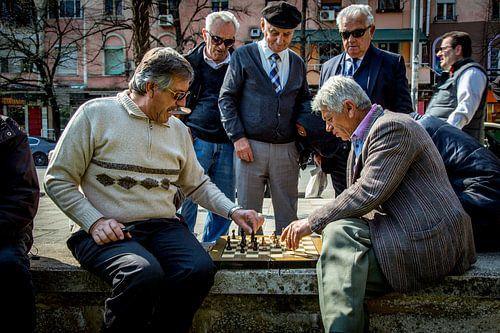 Old men playing Chess van
