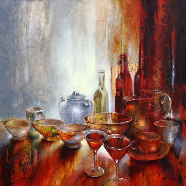 Stillleben mit grauer Teekanne von Annette Schmucker