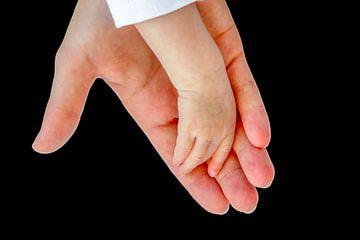 Hand der Mutter und die Hand des neugeborenen Babys von Ben Schonewille