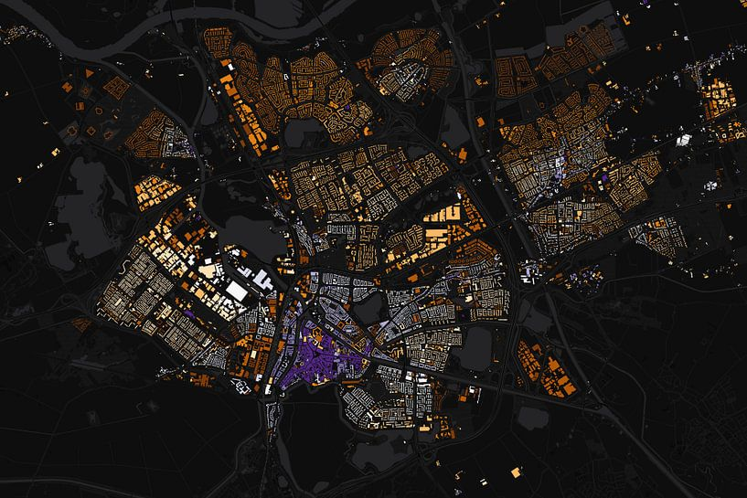 Kaart van Den Bosch abstract van Stef Verdonk