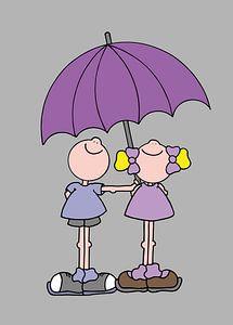 Jongen en meisje onder paraplu - kinderkamer van