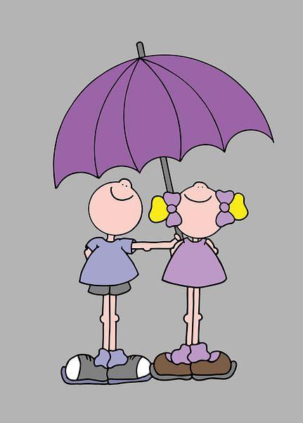 Jongen en meisje onder paraplu - kinderkamer