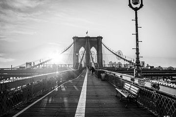 Brooklyn Bridge New York zwart wit van Kiki Multem