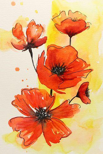 De rode bloemen