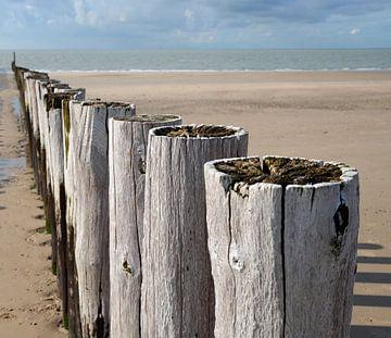 Detailopname van golfbrekers langs de Zeeuwse kust bij Zoutelande van Koolspix