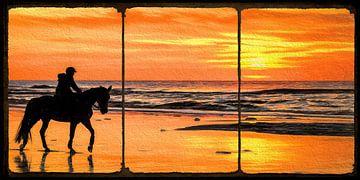 Pferd und Reiter am Strand während eines Sonnenuntergangs (der digitalen Kunst) von eric van der eijk