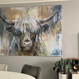 Klantfoto: Highland Cow I van Atelier Paint-Ing, op canvas