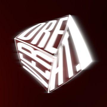 Gedraaide, verlichte kubus met tekst van Jörg Hausmann
