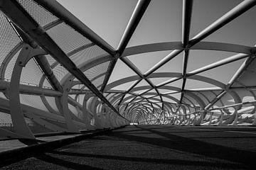 (fiets) brug  Groene Verbinding zwart/wit perspectief 2 van Manon Ruitenberg