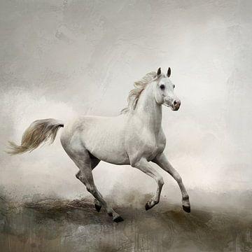 Weißes Pferd in abstrakter Aquarell-Landschaft von Diana van Tankeren