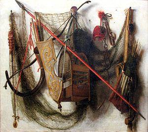 Johannes Leemans. Stilleven met jachtwapens