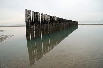 Rij golfbrekers aan de kust von Anouk Noordhuizen