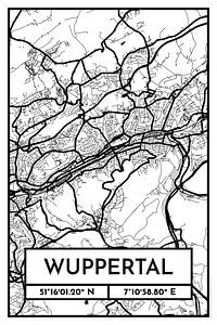 Wuppertal – City Map Design Stadtplan Karte (Retro)