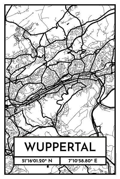 Wuppertal – City Map Design Stadtplan Karte (Retro) von ViaMapia