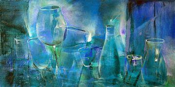 Party : bouteilles, pichets et verres en bleu et turquoise