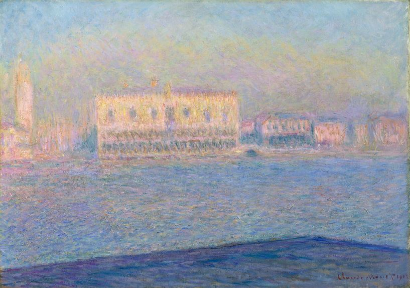 Der Dogenpalast gesehen von San Giorgio Maggiore, Claude Monet von Meesterlijcke Meesters