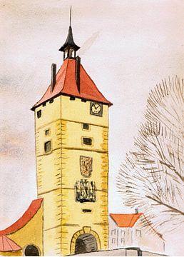 Uitkijktoren - klokkentoren - aquarel geschilderd door VK (Veit Kessler)