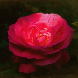 Rode roos in olieverf van W J Kok