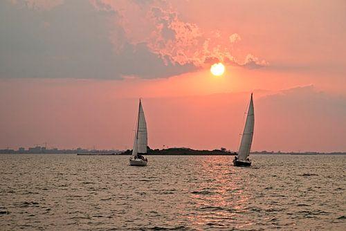 Zeilen op het IJsselmeer bij Pampus bij zonsondergang in Nederland van
