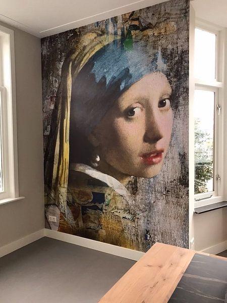Photo de nos clients: Girl with a Pearl Earring - a Mural sur Marja van den Hurk