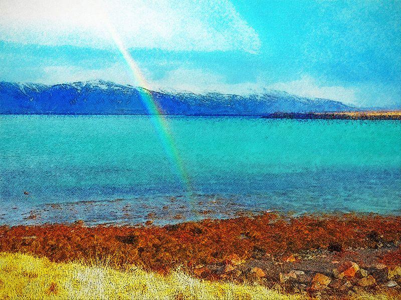 Regenboog op Viðey, IJsland van Frans Blok