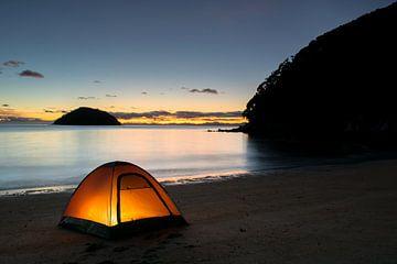 Kamperen bij Abel Tasman Nieuw-Zeeland van Tom in 't Veld