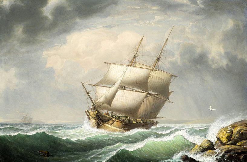 Brig vor der Maine Coast, Fitz Henry Lane von Meesterlijcke Meesters