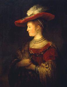 Saskia en profil in rijk gewaad - Rembrandt van Het Archief