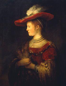Saskia en profil in rijk gewaad - Rembrandt