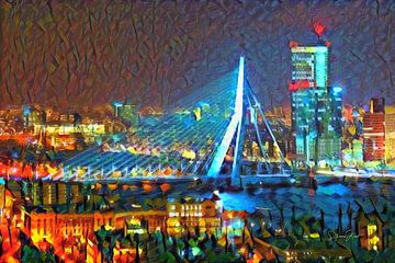 Kleurrijk Schilderij Erasmusbrug Rotterdam in de Avond van Slimme Kunst.nl
