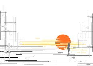 zonsondergang met lijnen