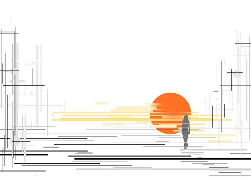 zonsondergang met lijnen van David Berkhoff