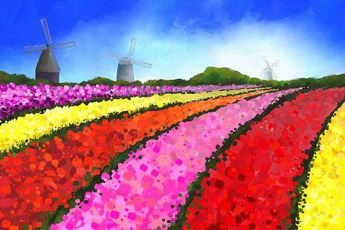 Landschapsschilderij van Nederlandse tulpenvelden met drie windmolens