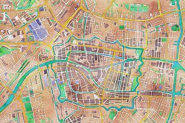 Kleurrijke kaart van Leiden von Stef Verdonk