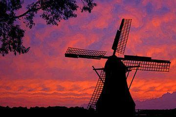 van gogh molen zonsondergang sur Martijn Wams