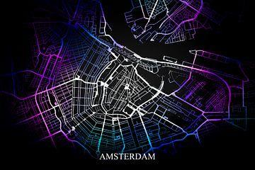 Amsterdam - Abstrakte Karte in Schwarz-Violett-Blau von Art By Dominic