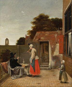 en binnenplaats met een rokende man en een drinkende vrouw, Pieter de Hooch van